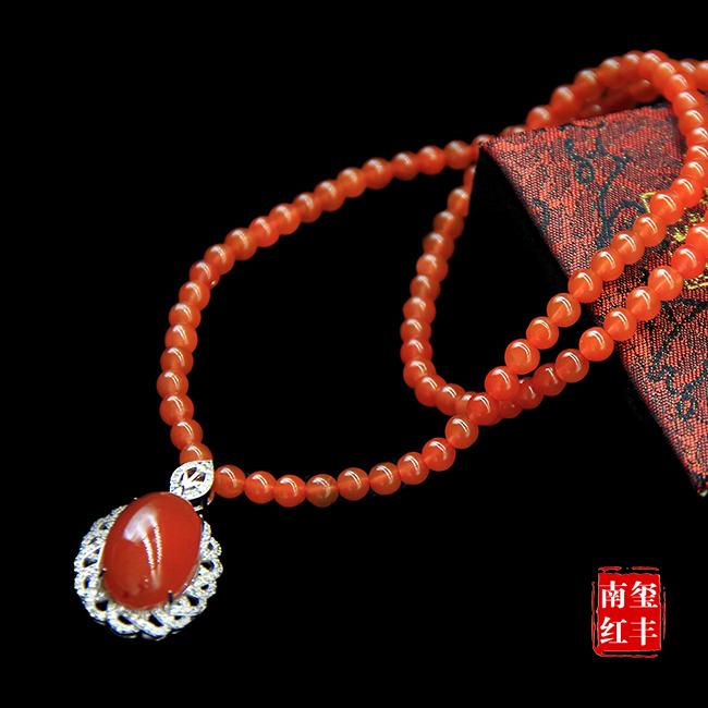 南红玛瑙极品柿子红挂件项链
